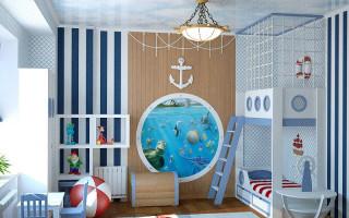 Interiér dětského pokoje: světlé tapety, světlé akcenty a římské rolety na oknech