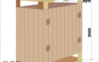 Dřevěná sprcha pro dávání vlastními rukama: jak udělat + fotografii